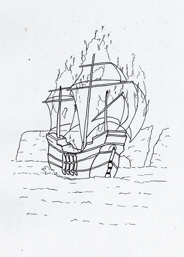 600x838 Boat On Fire