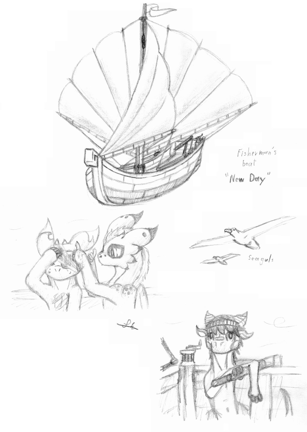 1024x1439 A Boat And 3 Dragons Sketches By Mikes118