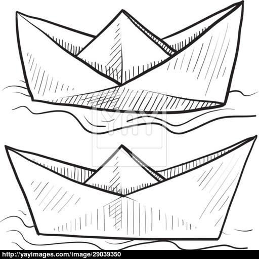 512x511 Paper Boat Vector Sketch Vector