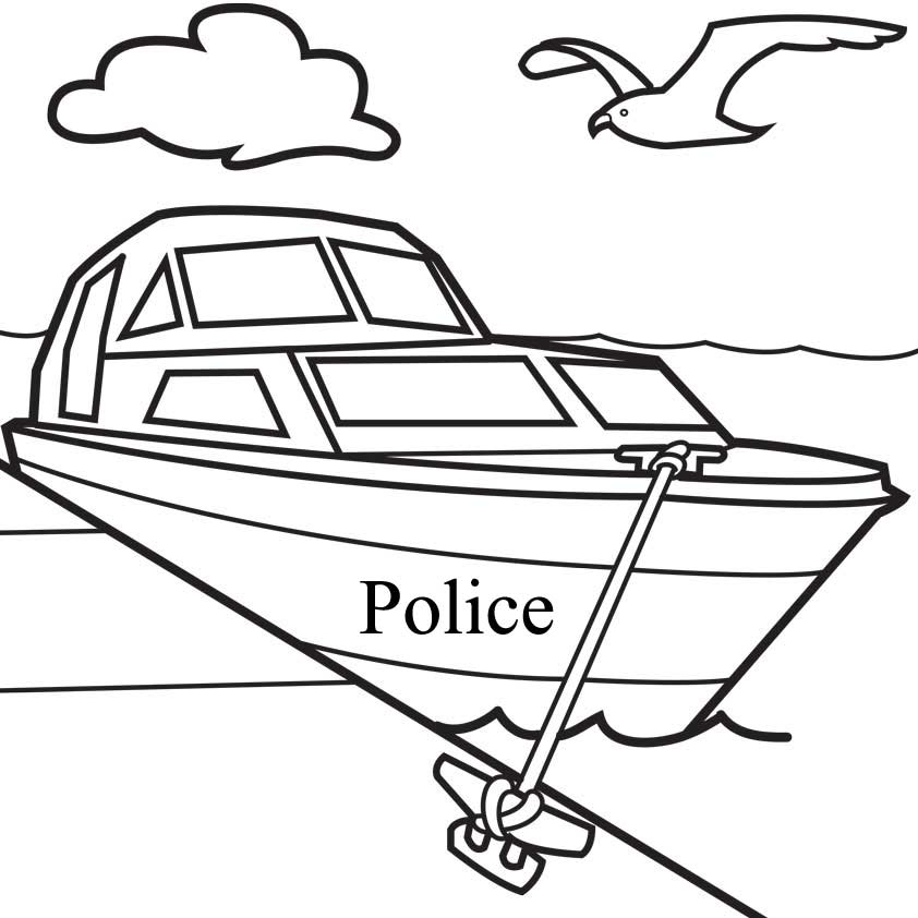842x842 Police Boat Coloring Pages