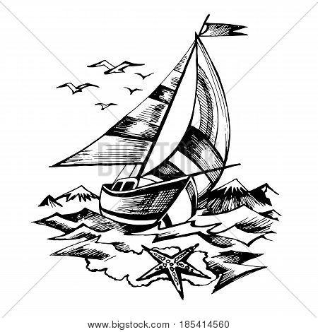 450x470 Sailing Boat Vector Sketch Vector Amp Photo Bigstock