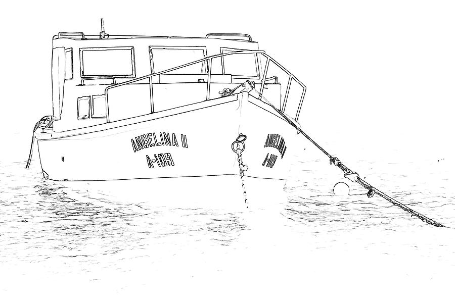 900x600 Sketch Of The Fishing Boat Of Aruba Angelina Photograph By David Letts