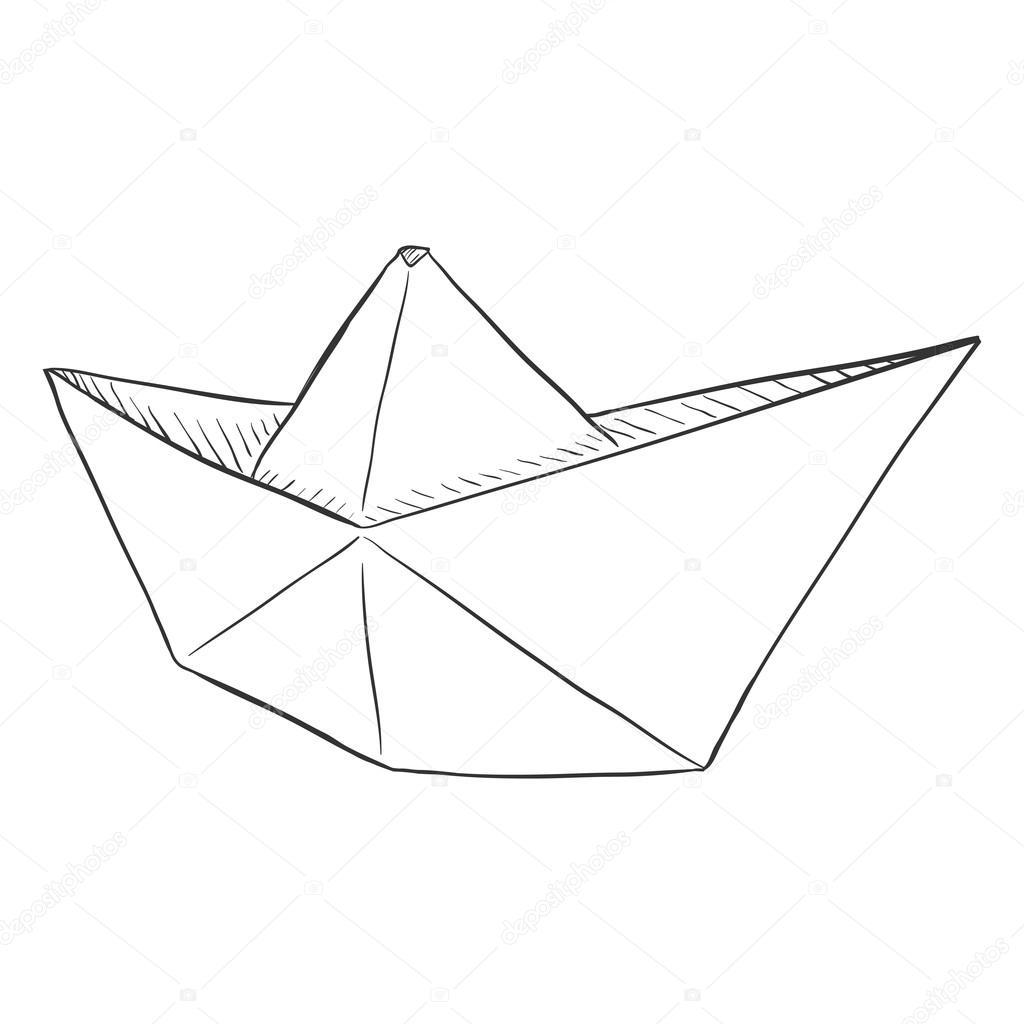 1024x1024 Sketch Paper Boat Stock Vector Nikiteev