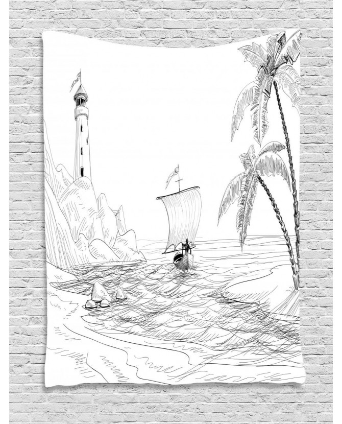 670x830 Tapestry Sketch With Boat Palms Printed Wall Hanging