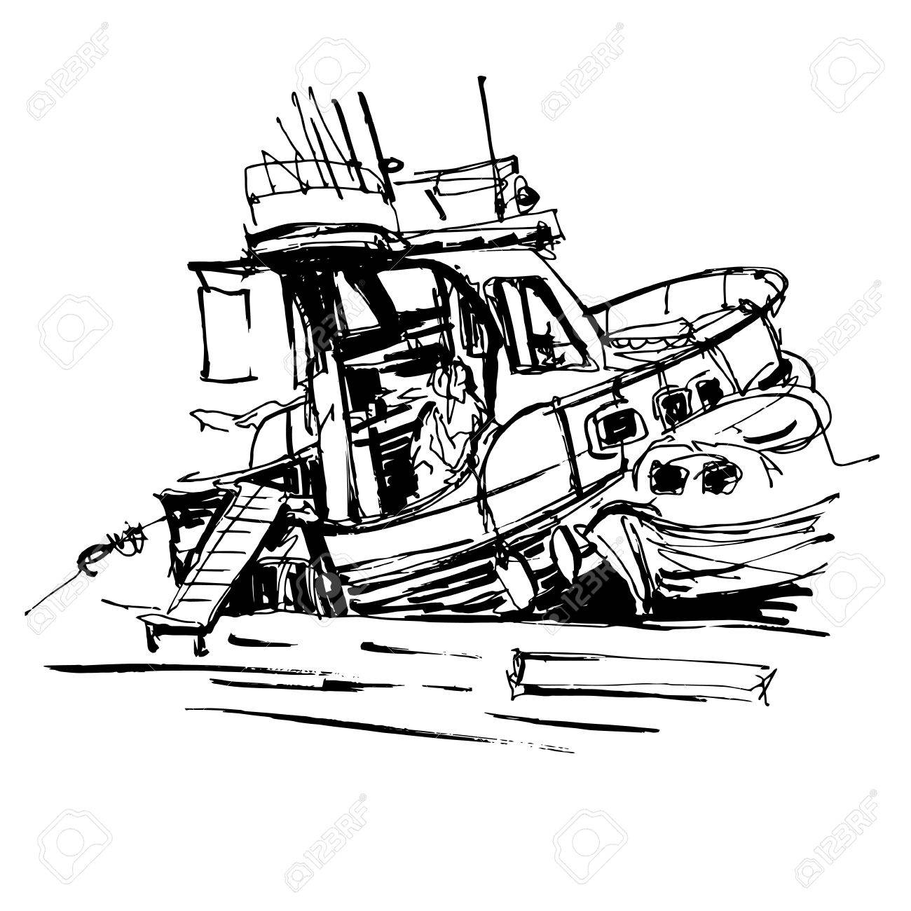 1300x1300 Black And White Ink Sketch Drawing Of Boat In Marine, Travel