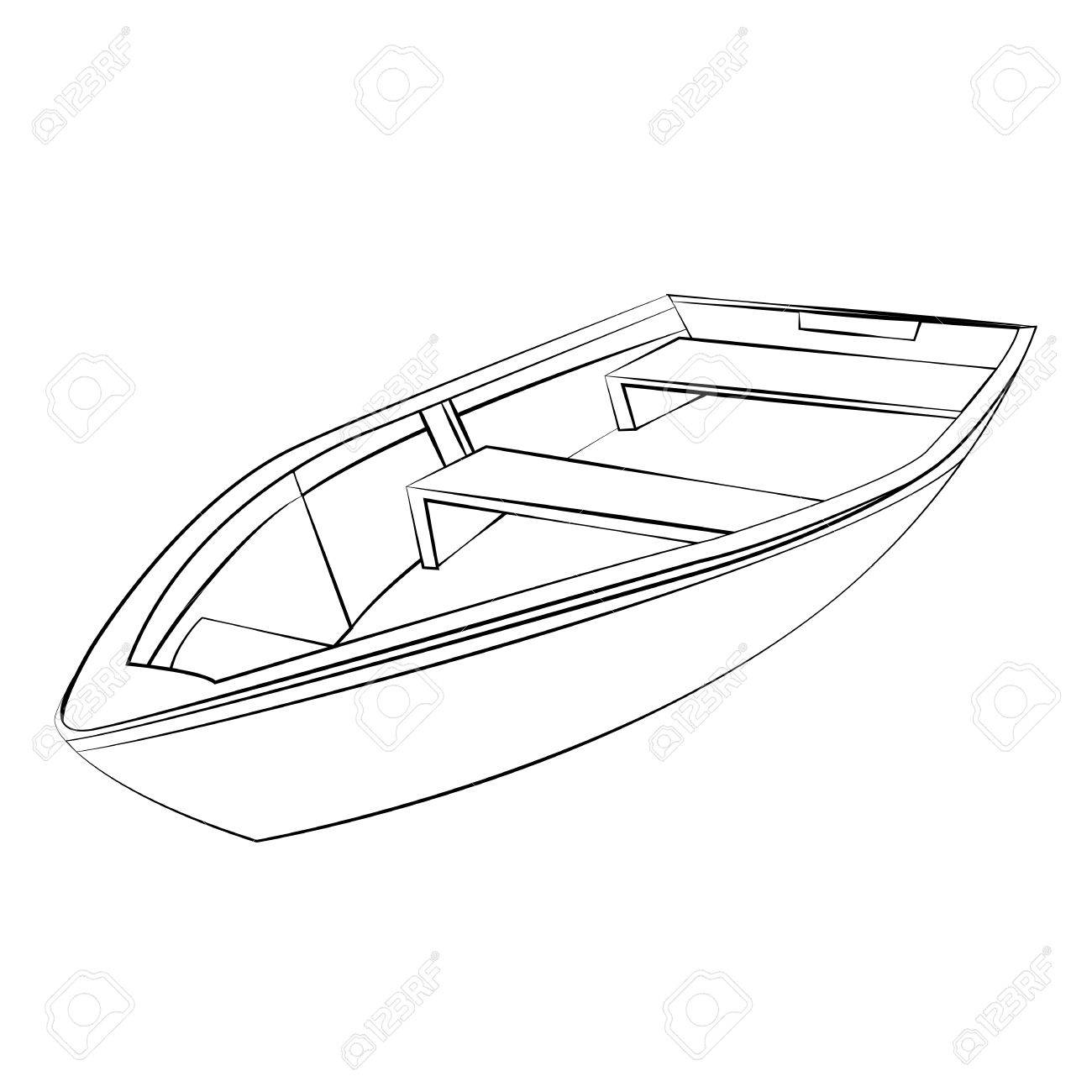 1300x1300 Black Outline Vector Boat On White Background. Royalty Free