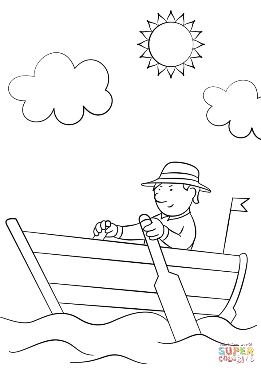 849x1200 Man In Wooden Row Boat Coloring Page Free Printable Coloring Pages
