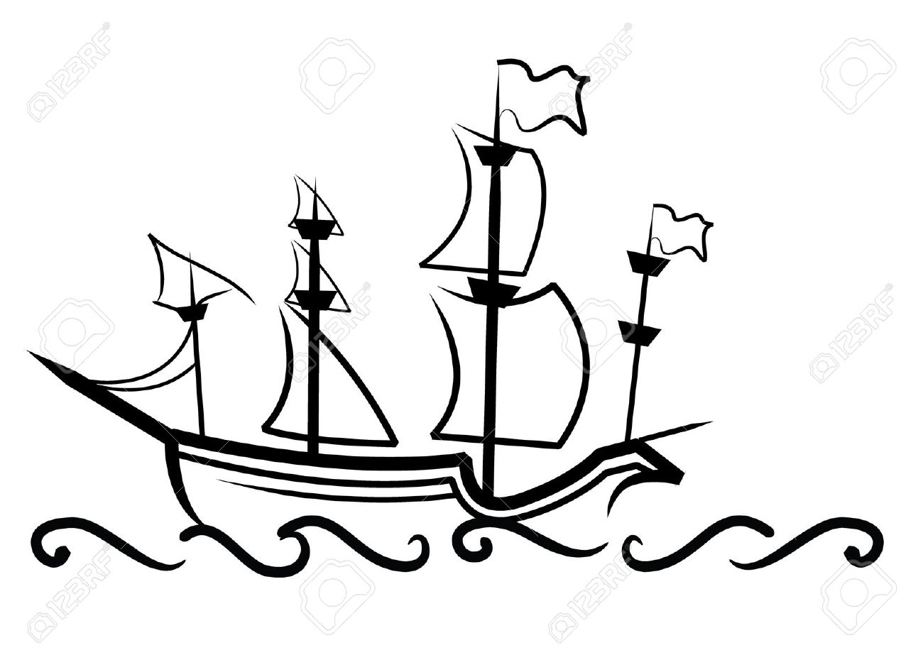 1300x916 Simple Drawing Of Boat Simple Drawing Of An English Great Ship