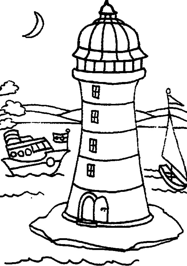 600x850 Coloring Pages Lighthouses Sailboats Sailboat Coloring Page