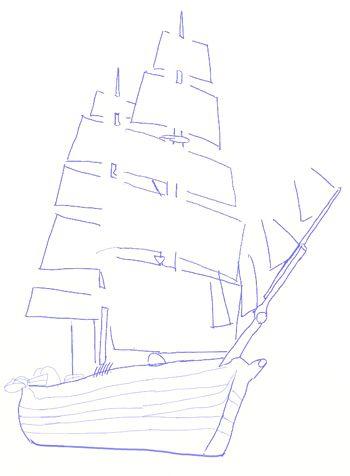 350x476 How To Draw A Ship, Step 5 Dibujar Sailing Ships
