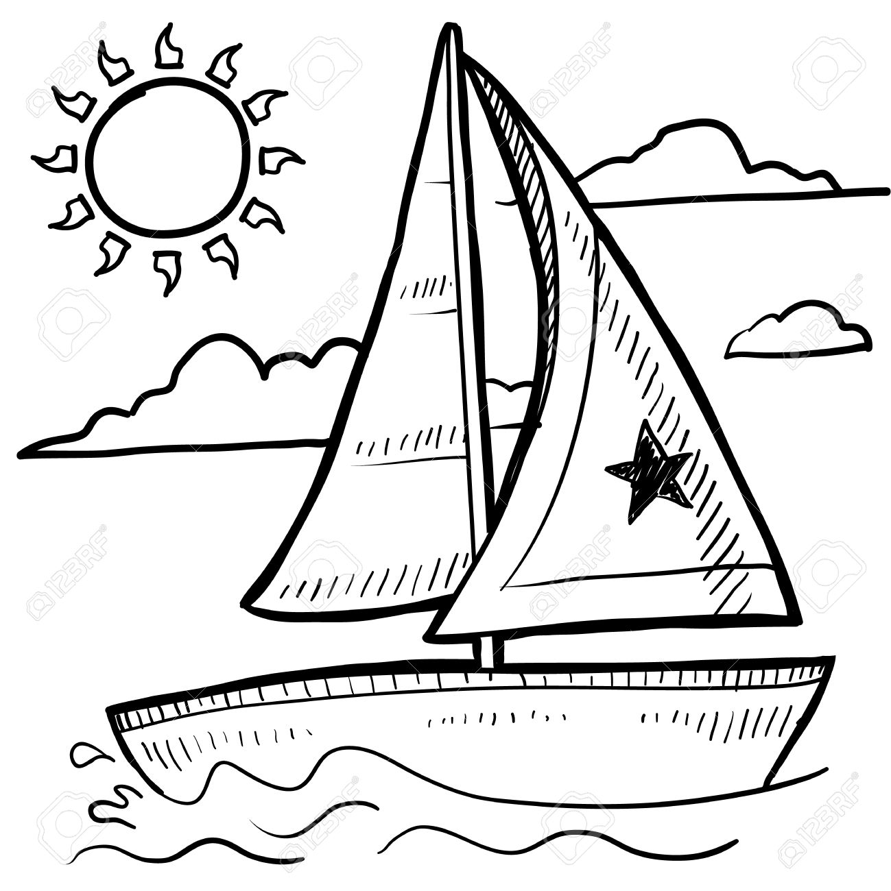 1299x1300 Doodle Style Sketch Of A Sailboat Vacation In Illustration Royalty