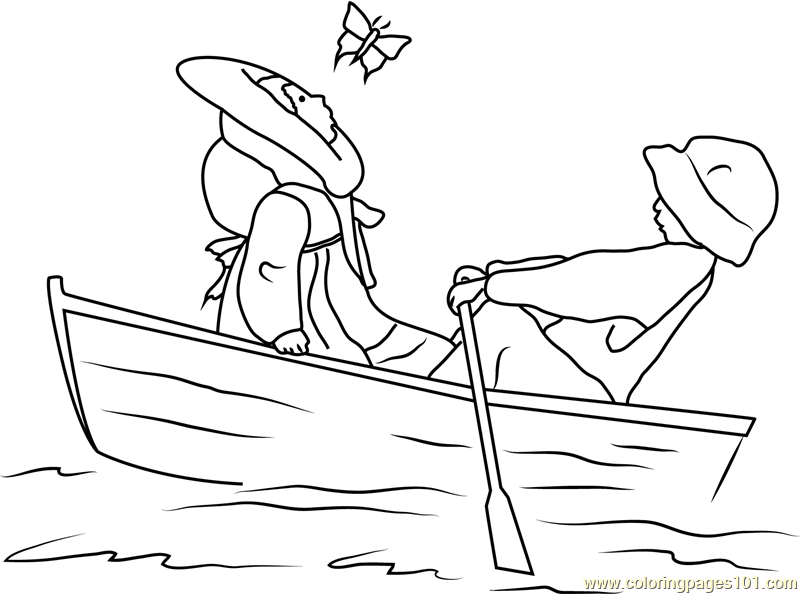 800x594 Holly Hobbie And A Boy In A Boat Coloring Page