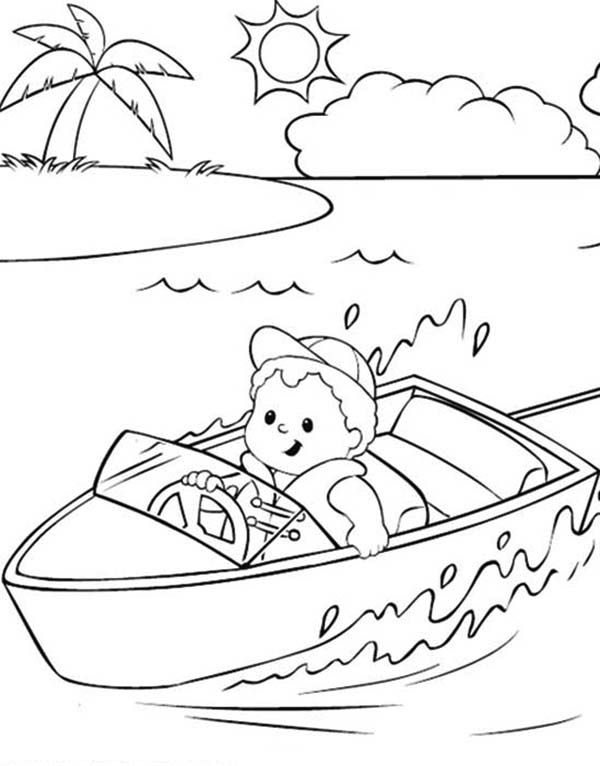 600x766 Little People On The River With Boat Coloring Pages Batch Coloring
