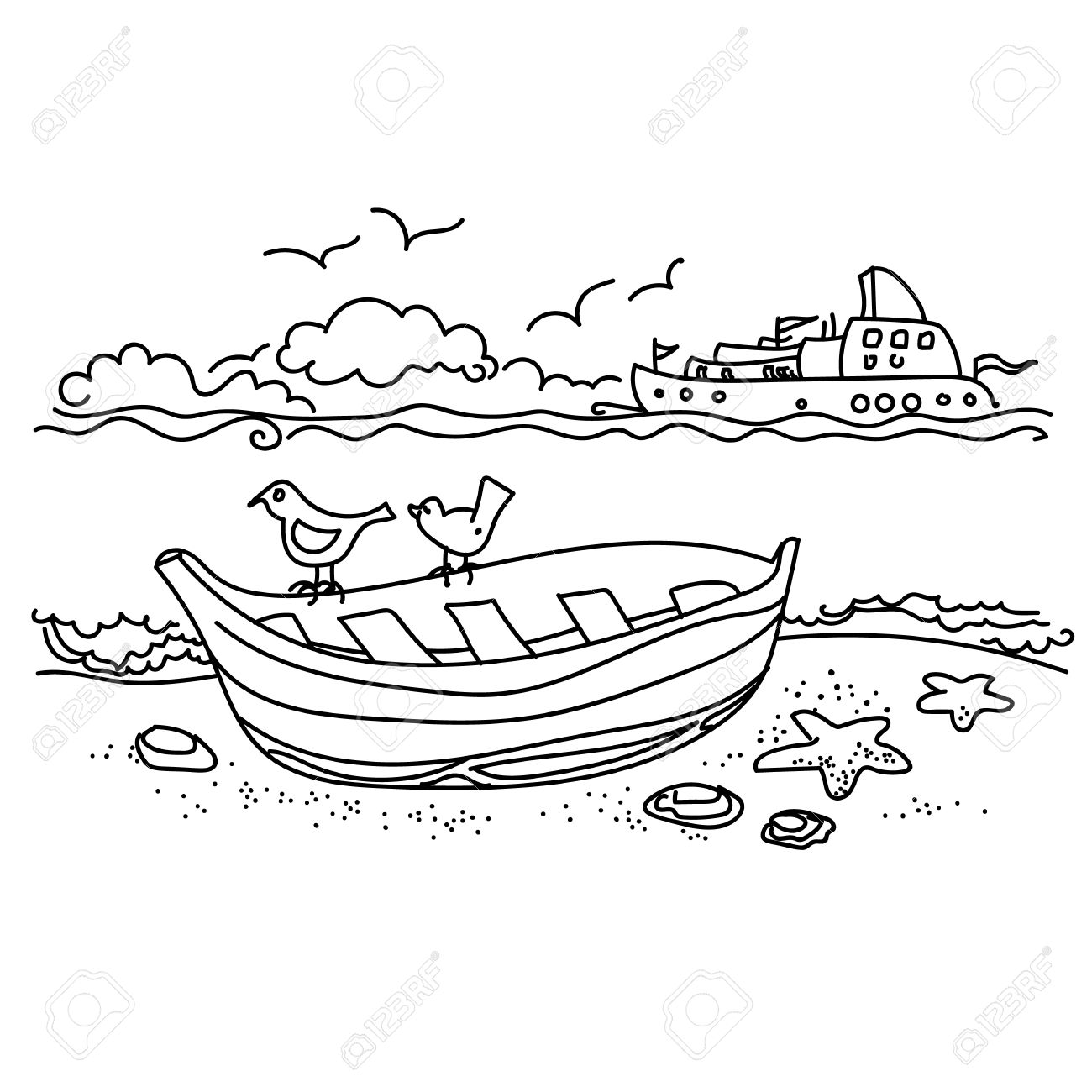 1300x1300 Sailing Boat On Coast Free Hand Drawing, Outline Royalty Free
