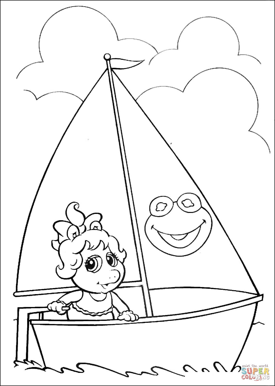 1133x1588 Baby Miss Piggy On A Boat Coloring Page Free Printable Coloring