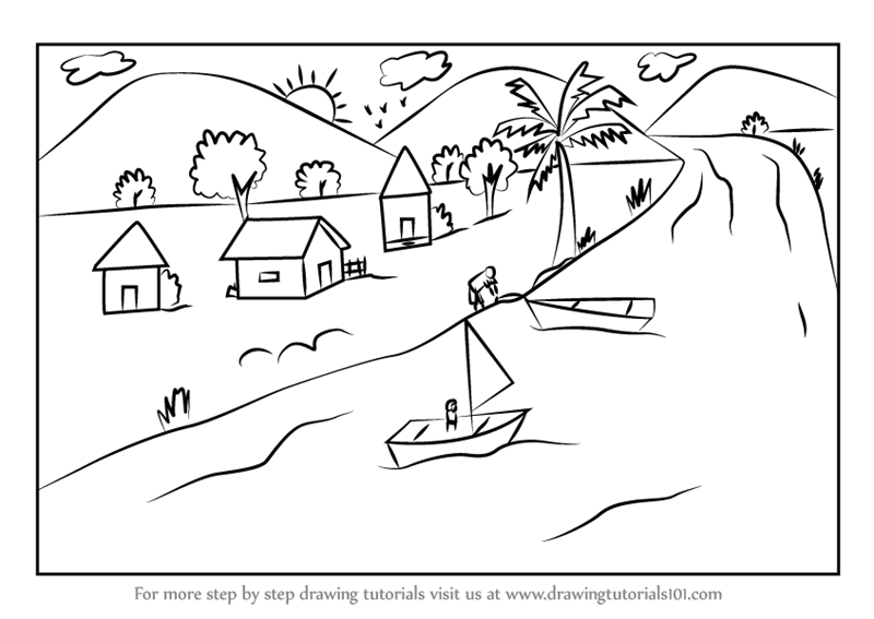 800x567 Step By Step How To Draw A Boating Scene