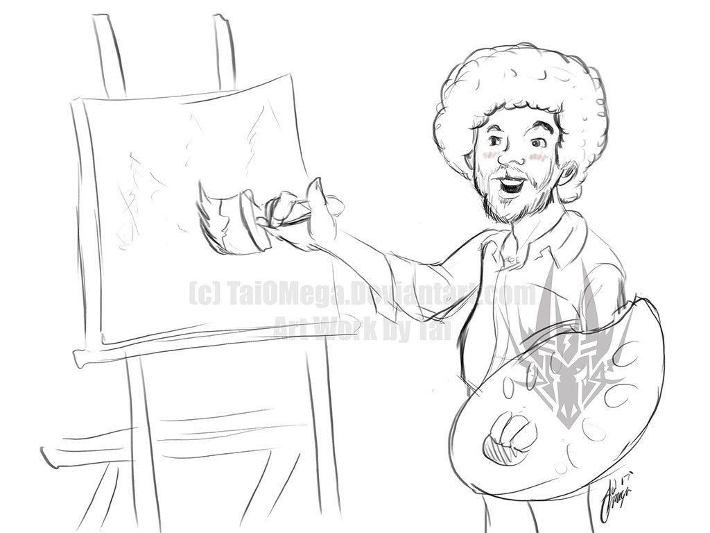 1024x768 Image Result For Bob Ross Line Drawing Bob Ross Happy Little