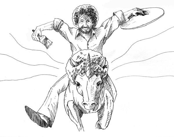 600x474 Bob Ross Even Rides Unicorns We Love Pinterest