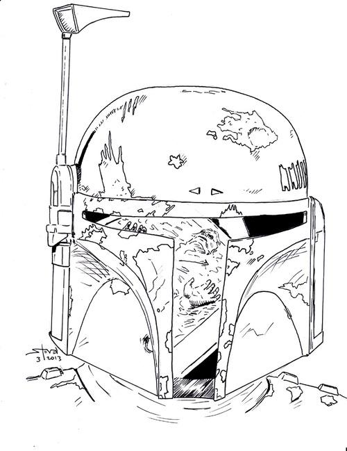 500x649 Boba Fett Helmet Drawing Boba Fett Helmet Drawing Step By Step