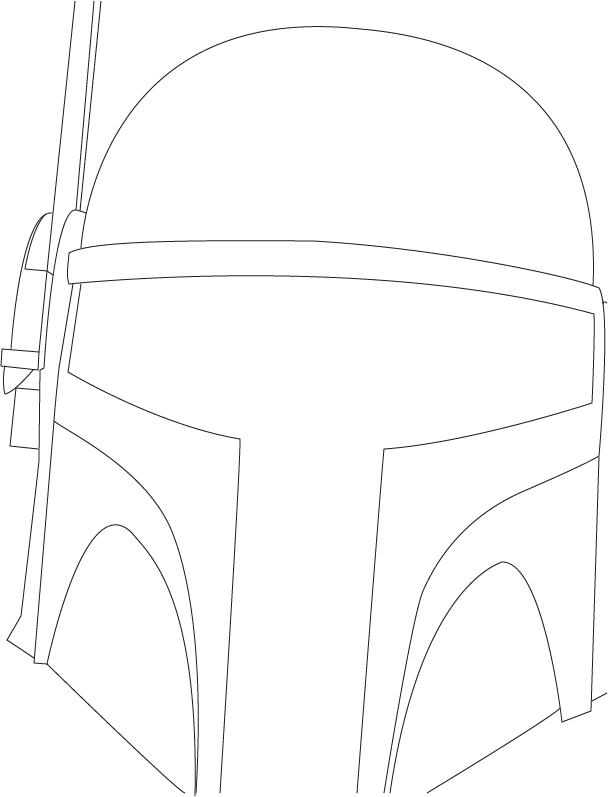 608x797 Boba Fett Helmet Line Art By Lovett91