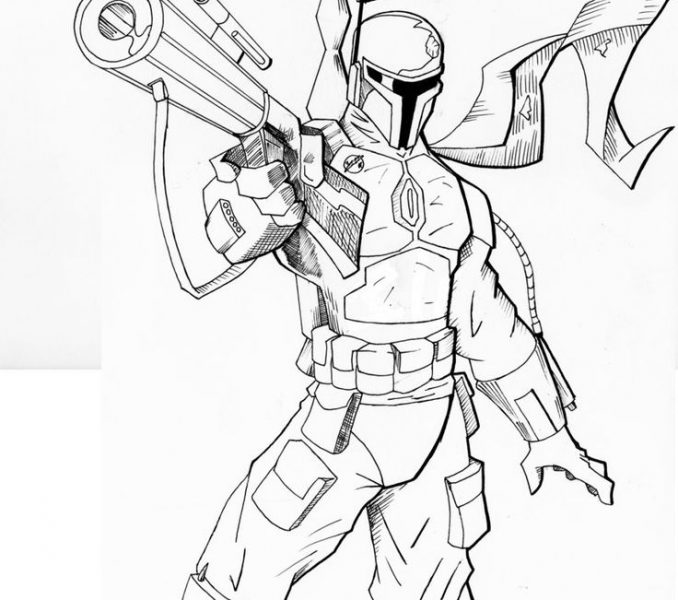 678x600 Boba Fett Coloring Pages