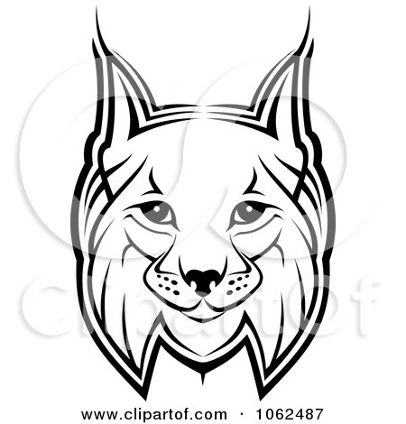 450x470 Clipart Bobcat In Black And White 1