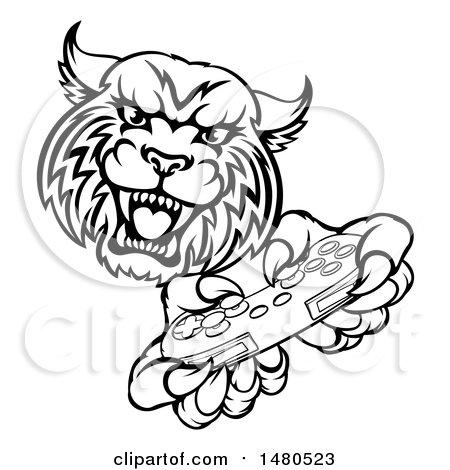 450x470 Clipart Of A Black And White Roaring Aggressive Bobcat Mascot Head