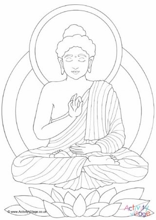 320x452 Buddha Under Bodhi Tree Colouring Page