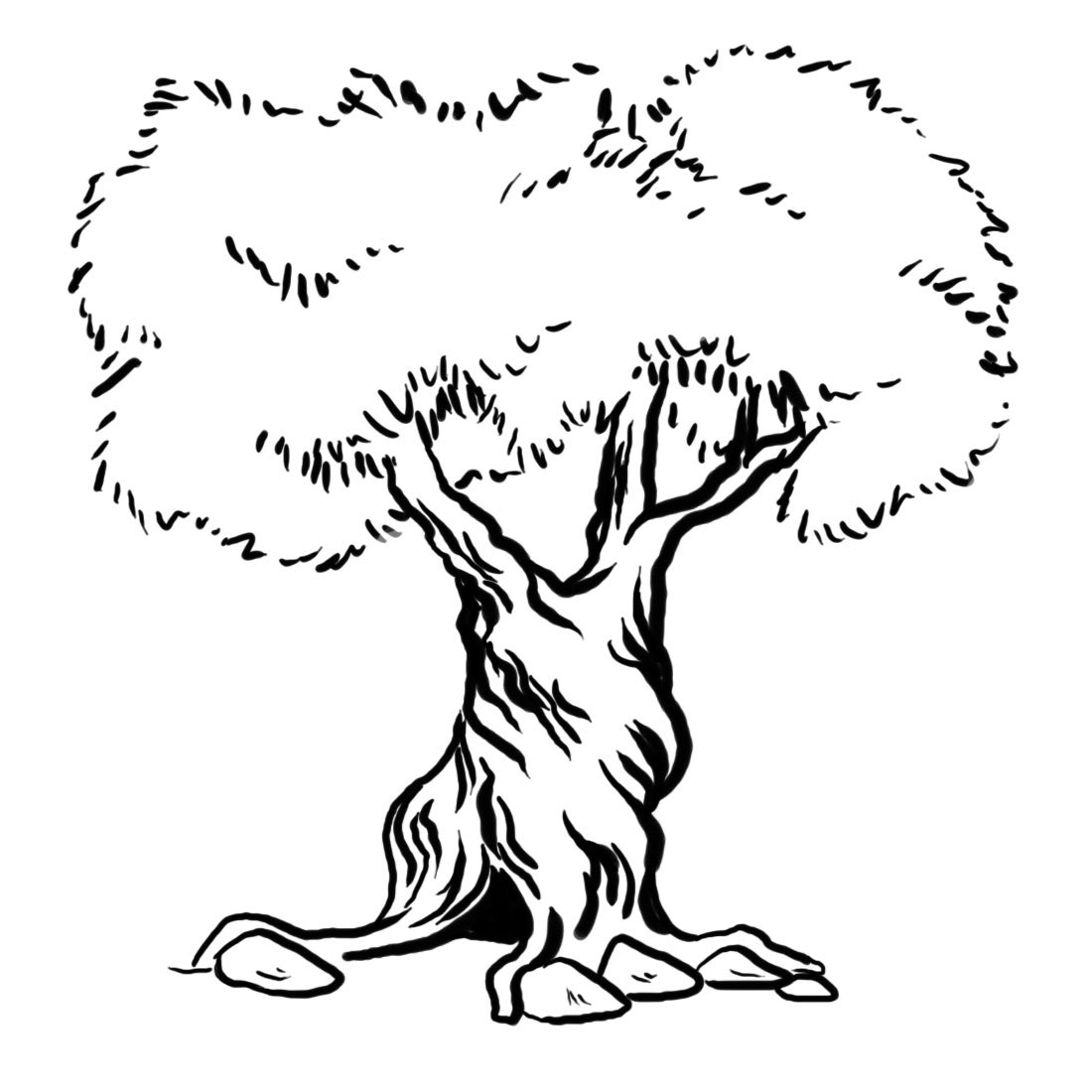 1100x1100 Tree Coloring Pages With Roots Coloring Page For Kids