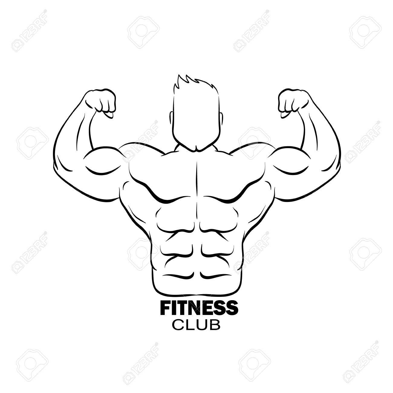 1300x1300 Bodybuilder Silhouette Abstract, Vector Illustration Royalty Free