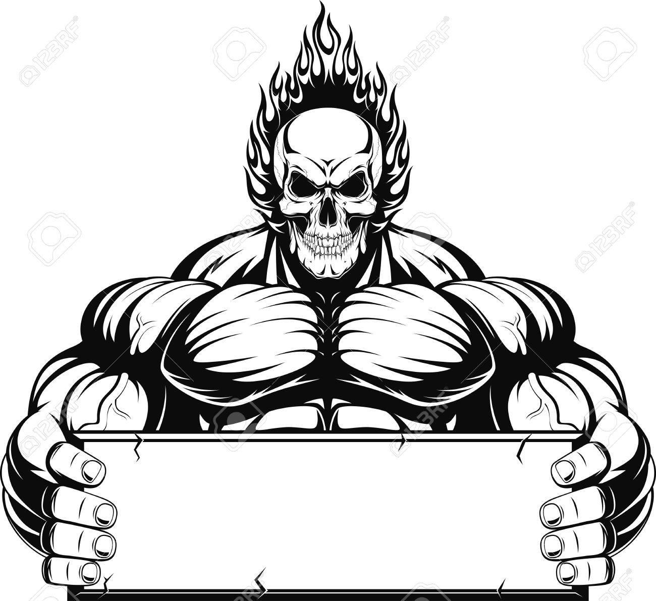 1300x1191 Vector Illustration, Outline A Bodybuilder, A Fiery Skull