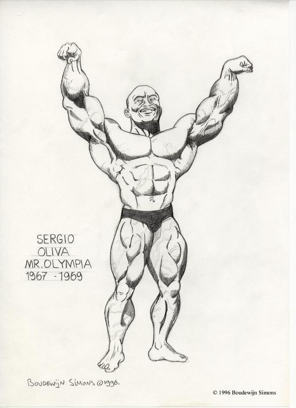 600x825 Bodybuilding Caricatures Sergio Oliva Bodybuilding Art