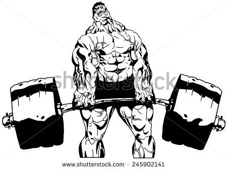 450x338 Stock Photo Bodybuilder Lifts Heavy Barbell Illustration Black
