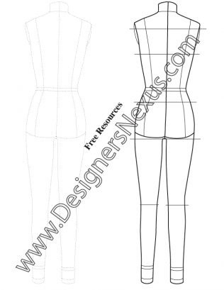 316x409 Full Body Female Dress Form Template Sketch V7 Back View