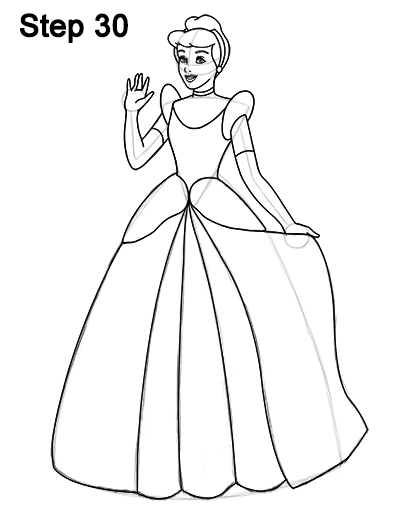 404x523 How To Draw Cinderella (Full Body)
