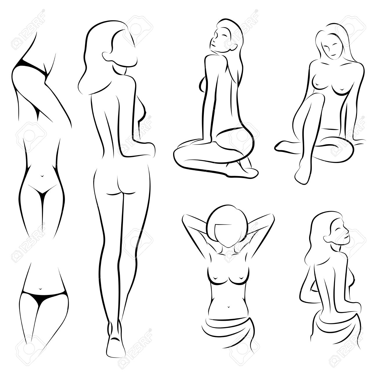 1300x1300 Female Sexy Intime Beauty Body Outline Parts Royalty Free