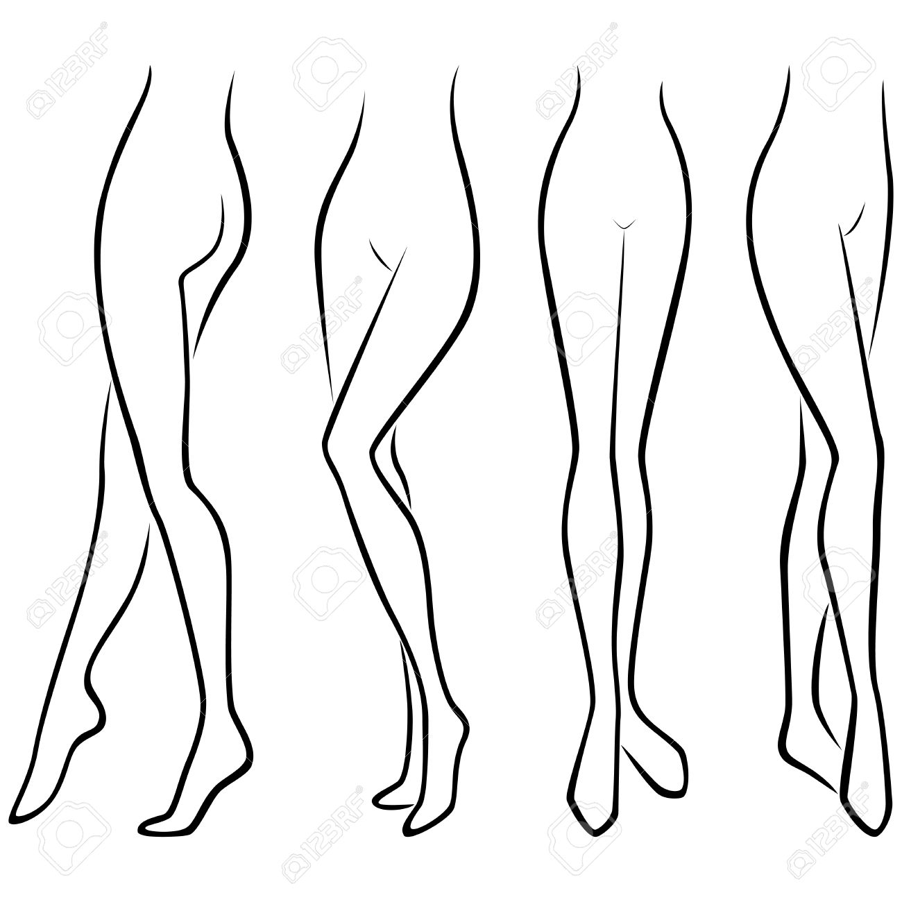 1300x1300 Lower Part Of Abstract Graceful Female Body, Set Of Four Hand