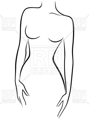 300x400 Outline Of Naked Female Body Front View Royalty Free Vector Clip