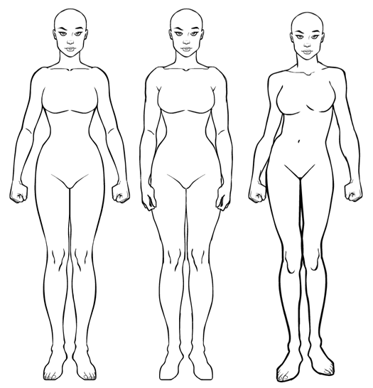 525x546 Body Outline Drawings