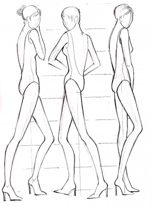 500x683 Sketches Of Fashion Model Drawings