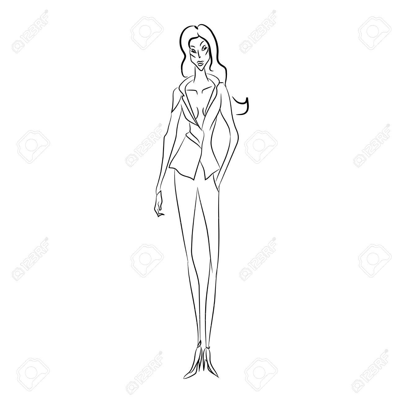 1300x1300 Vector Fashion Sketch. Beautiful Model Walking On Runway