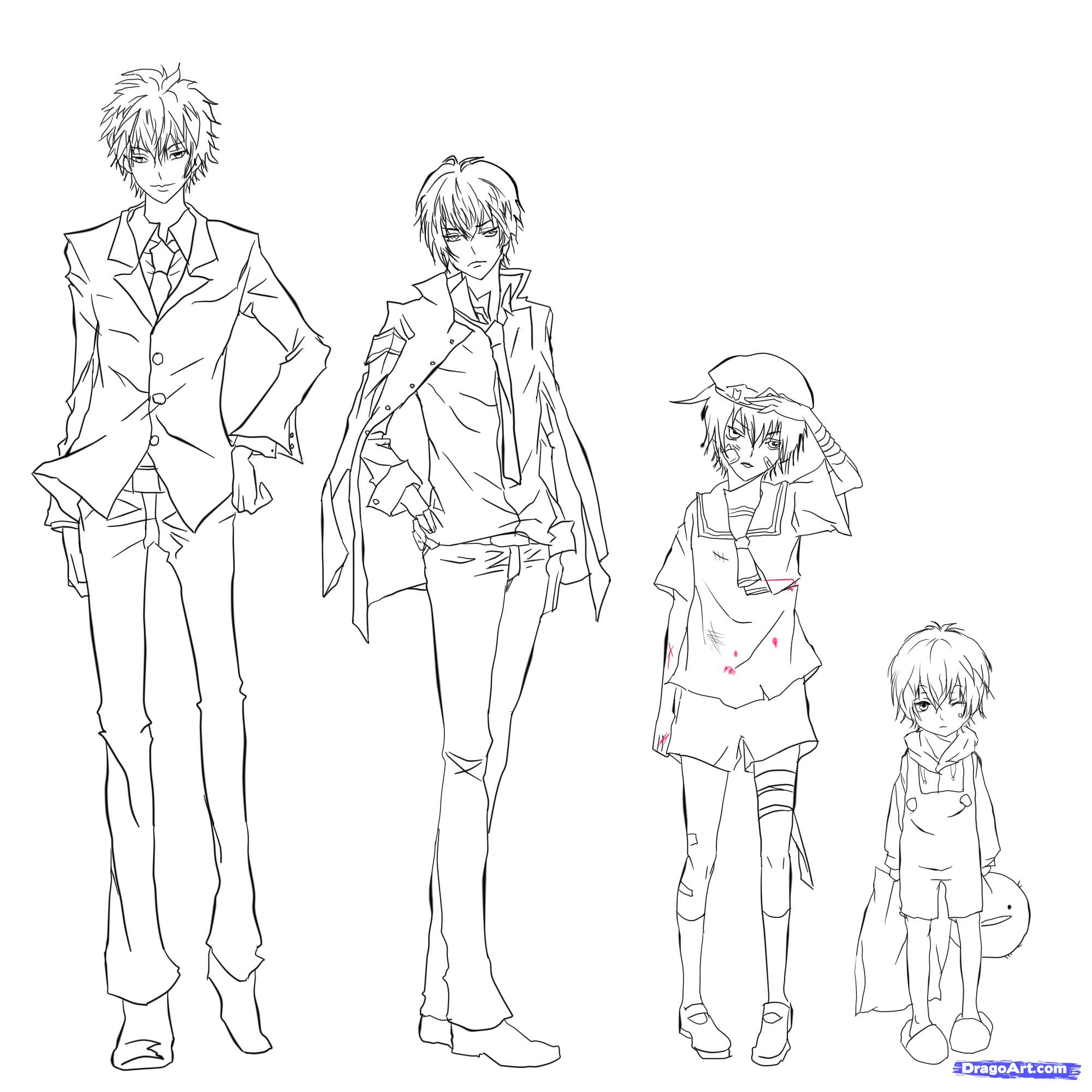 2000x2000 Pencil Drawn Anime Characters Body Outline