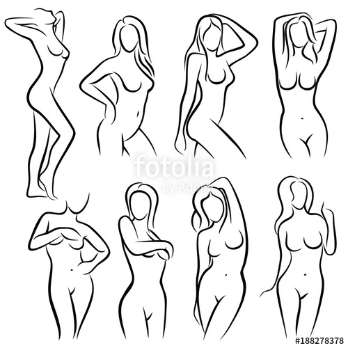 500x500 Young Female Body Outline Silhouettes Vector Beauty Logos Stock