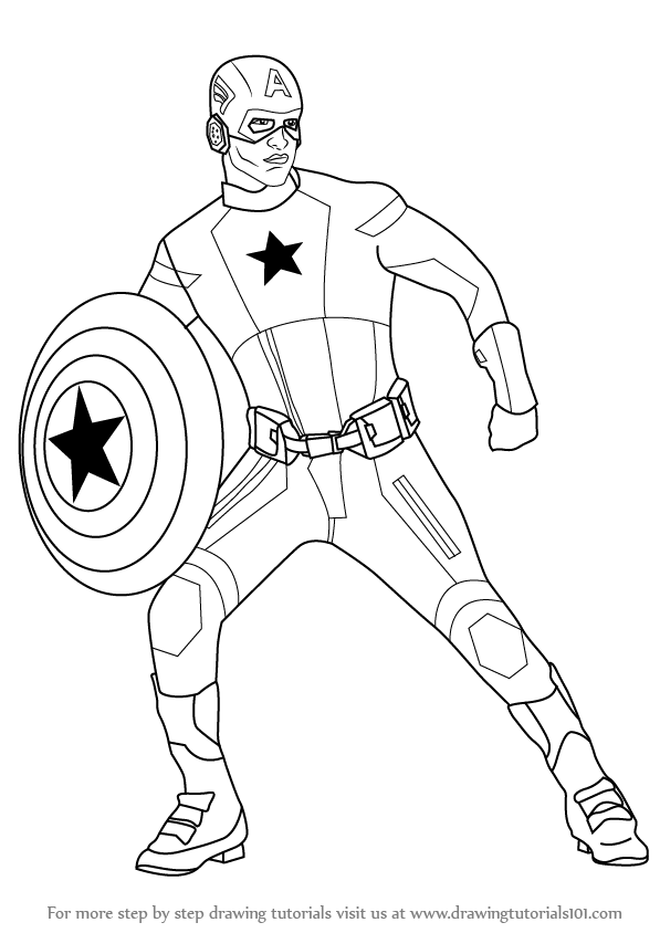 597x844 Learn How To Draw Captain America (Captain America) Step By Step