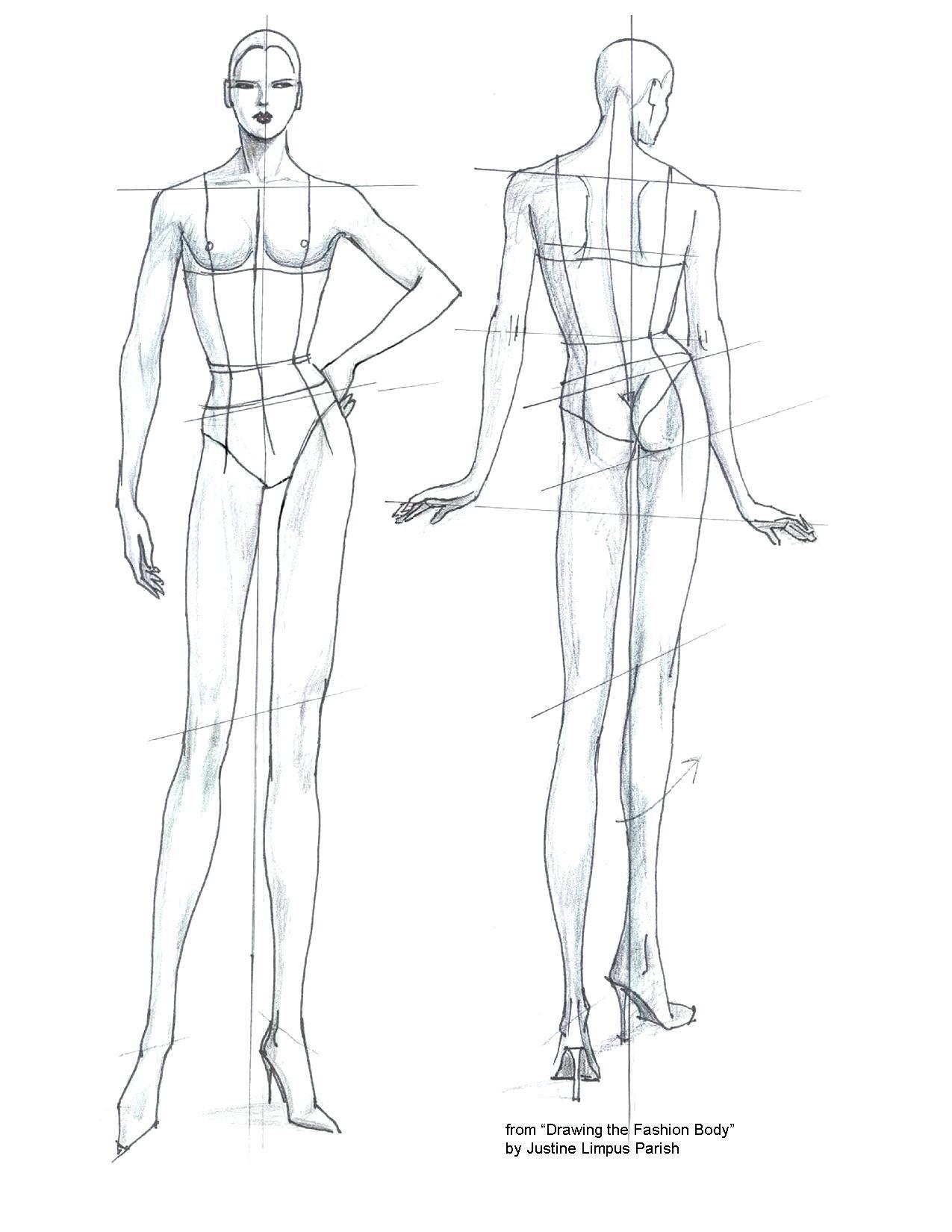 1275x1650 Fashion Design Model Sketch Template