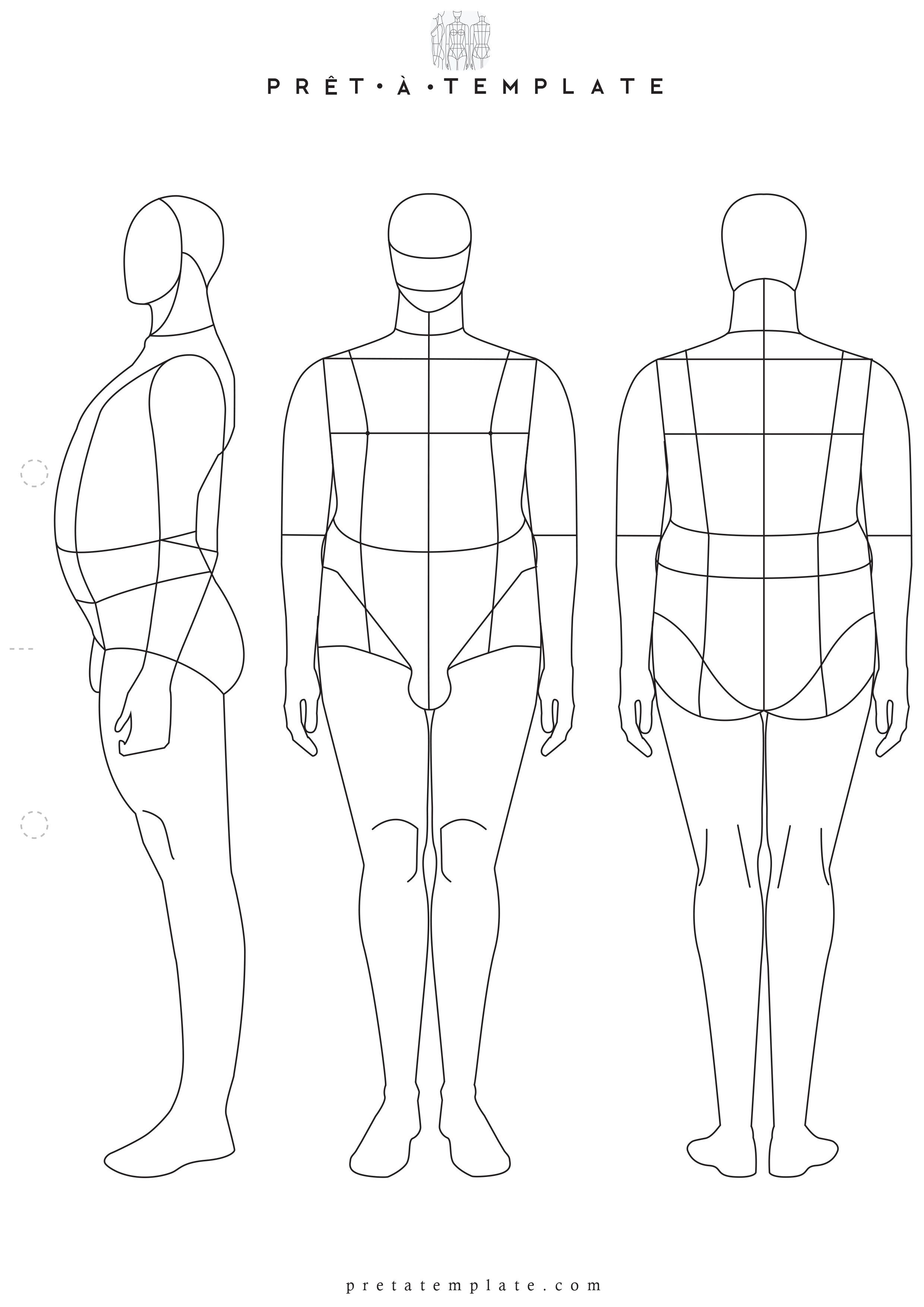 2480x3508 Plus Size Man Male Body Figure Fashion Template (D I Y Your Own