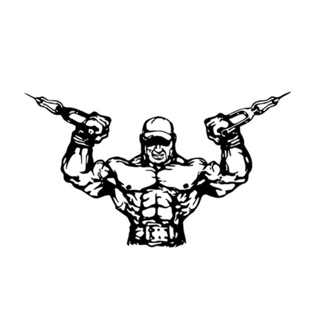 1000x1000 Fitness Gym Wall Decal Sport Muscle Man Dumbbell Barbell