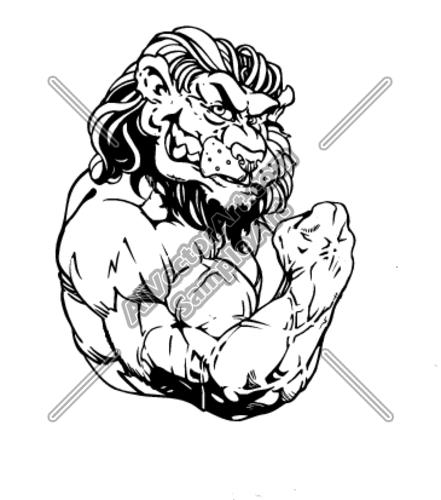 441x500 Muscular Lion Bodybuilder Flexing Clipart And Vectorart Sports