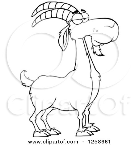 450x470 Clipart Of A Black And White Male Boer Goat Buck