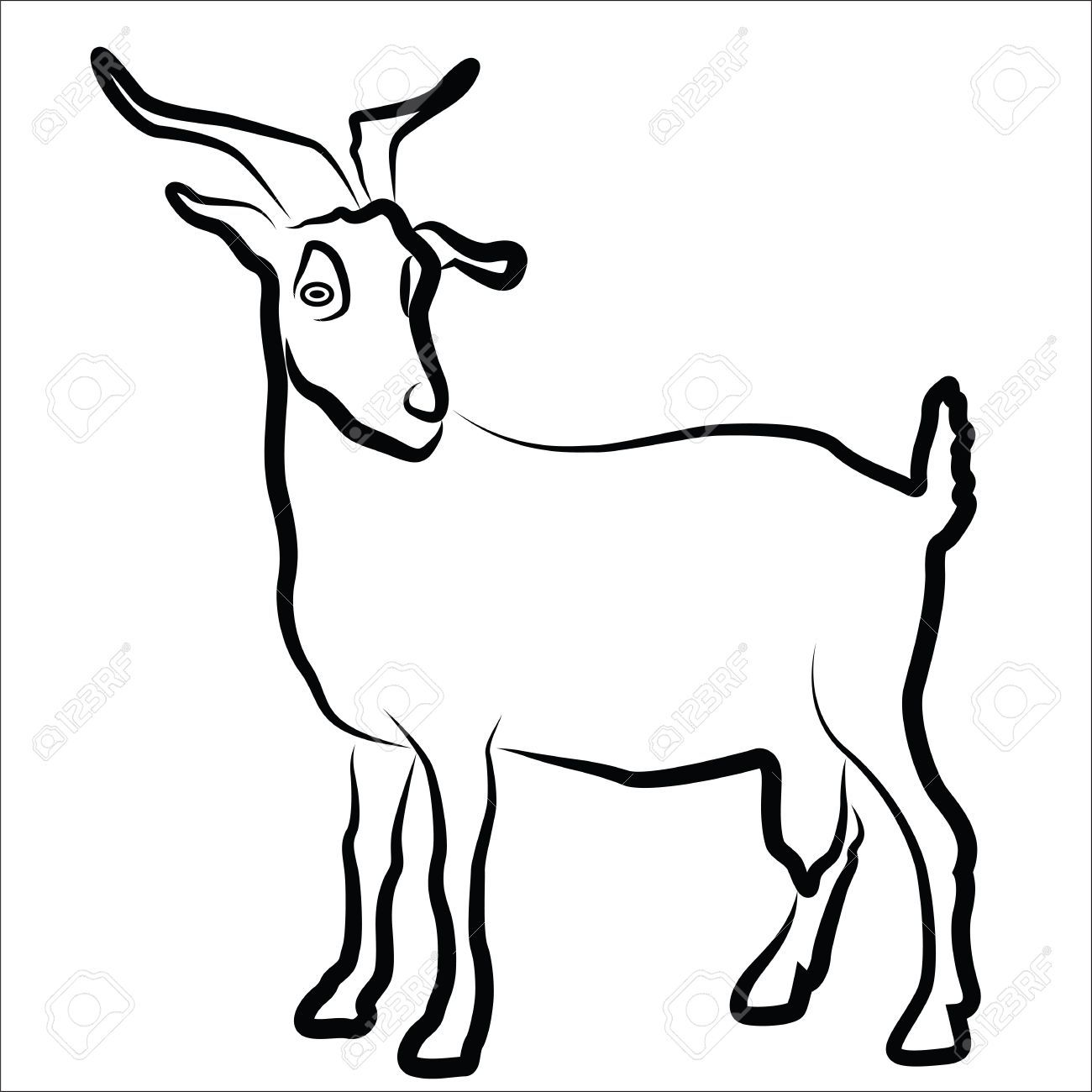 1300x1300 Goat Silhouette Isolated On White Royalty Free Cliparts, Vectors